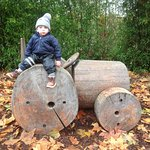 Part of the playgrounds held these great wooden vehicles.