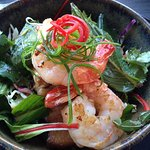 Prawn & Pork Belly Salad Served with fresh Asian herbs and a nam jim dressing $14.00