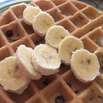 My DYI chocolate waffles w banana