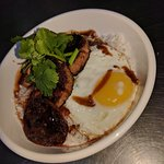 Pork sausage rice bowl with fried egg EC$18 from noon to 3pm