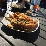Fish and Chips with fries and fried zucchini