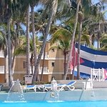 Cuban flags hung by pool on Cuba Day! (held weekly)