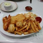 Seafood platter with Haddock.