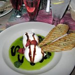 Burrata & Confit Tomatoes with Pesto Olive Oil & Balsamic Reduction