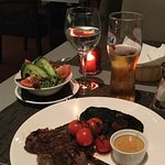 An excellent ribeye steak (can be served with chips as well).