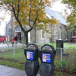Parking meters outside St. George's Anglican Church