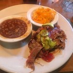 Classic Pulled Pork plate, Baked Beans and Mac and Cheese as sides
