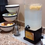 Infused water and fresh fruit upon arrival.