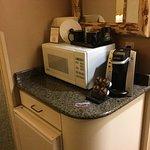 Microwave, coffee maker and fridge (below).