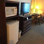 Microwave, fridge, tv and desk