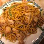 Lo Mein, shrimp, green peppers, chicken, and vegetables.