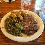 Half pound hamburger steak, green beans and fried okra
