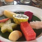 Breakfast plate of fruits