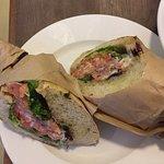 Sandwich with salmon horseradish