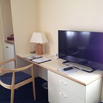 Desk and tv