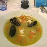 Flavoured mussels soup