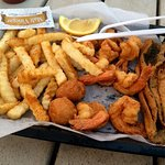 Fried shrimp and flounder