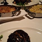 Filet, Filet with onions & mushrooms, potatoes au gratin, and AMAZING creamed corn!