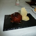 This is the Abuelo ruta de la tapa competition entry of meatball stuffed with cheese.