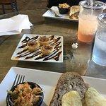 BLT, Cucumber sandwich on walnut, carrot apple slaw, pecan tassies, and Sassafras Strawberry tea