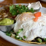 Huevos rancheros with guac