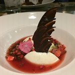 Citrus panna cotta with raspberry lime sauce