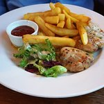 Chicken Thighs in a Garlic and Chilli Butter served with Chips, Salad and Sweet Chilli Mayonnais