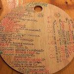 Hand-written menu - front