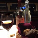 Nice Bread assortment, Chilled Water and a Beringer White Zin