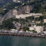 View of hotel from in town port of Amalfi