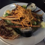 Steak salad and lobster bisque.