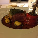 Main course venison with pasta shells and stuffed bell pepper.