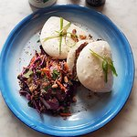 Free-range pork and lime hoisin bao buns with herby Asian slaw