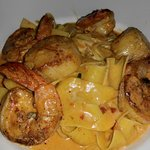 Shrimp and Scallops in a lobster sauce over papardella.Excellent choice.