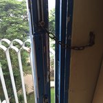 The balcony door only have a key chain, very unsecure