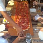 Best place for pizza we were 3 kids and 4 grown we prefer 1 meter big pizza only for 18 + 3 $ fo