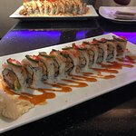 Yellow tail jalapeño roll, wasabi lobster roll, kiss the fire roll, and the blue monster roll.