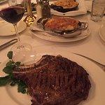 The bone-in ribeye steak and gratin potatoes