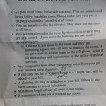 Here's the HIGHLY restrictive pet policy. I was lucky enough to argue down the nightly pet fee.