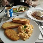 Breakfast - scrambled eggs on sourdough, pancakes and eggs benedict