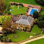 Arial view of Clanville Manor & Tallet, with summer pool.