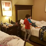 Smaller room but very clean with exceptional beds! The beds and pillows as well as the bedding w