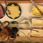 Jams, ham, cheese, butter and spreads
