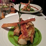 Belly pork with scallops and pea pureé.