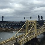 PNC Park and Roberto Clemente Bridge from my room.