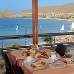 Breakfast from main restaurant from balcony with superb view