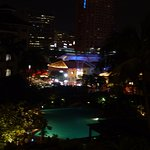 Evening view of the pool and Clarke Quay from our room