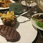 Sirloin, chips and salad