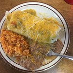Chicken enchilada burrito plate smothered in green; carne adovada burrito plate smothered in red
