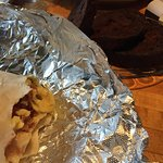 My burrito and the grilled banana bread in the background.